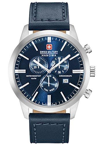 SWISS MILITARY-HANOWA Herren Analog Quarz Uhr mit Leder Armband 06-4308.04.003