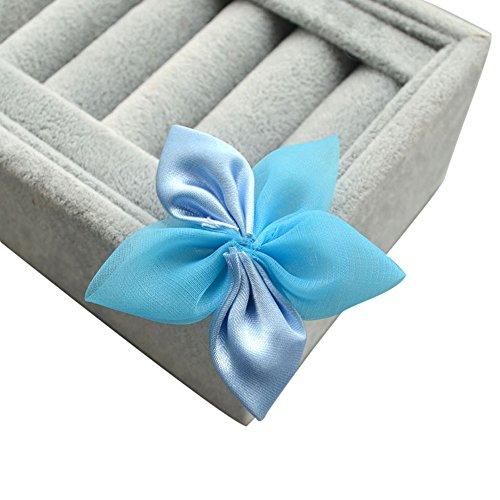 50 pezzi fiocco fiore cinque petali nastro raso organza accessori decorazioni creazioni fai da te (azzurro)