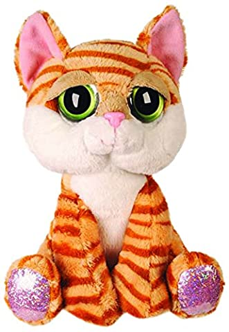 Suki Gifts Lil Peepers Fun Amber Orange Tabby Cat Plush Toy with Pink Sparkle Accents (Medium,