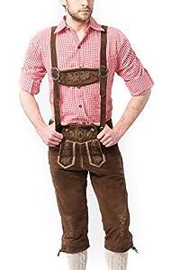 Tannhauser 0108-04-58 - lederhosen Rudi de ante calzón corto, de color marrón oscuro