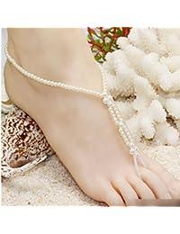 HuaYang Nouveau Bracelet de Cheville élastique Cristal Chaine Bijoux Pied Perle Elegant