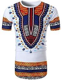 Shujin Herren Sommer Dashiki Shirt Traditionelles Oberteil mit  afrikanischem Druck Beiläufige Festival Tribal Hemd T-Shirt… fbac97fd20