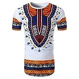Shujin Herren Sommer Dashiki Shirt Traditionelles Oberteil mit afrikanischem Druck Beiläufige Festival Tribal Hemd T-Shirt Longshirt Tops