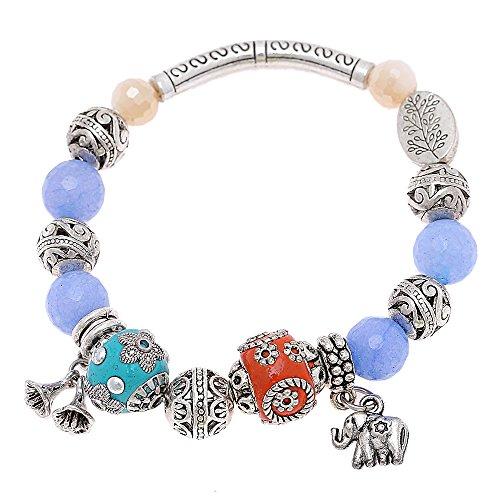 White Brass pulsera de perlas azules Naranja de cristal esmalte flor Elefant...