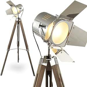 mojoliving l37 mojo lampadaire design style ancien type projecteur de cin ma avec spot chrom. Black Bedroom Furniture Sets. Home Design Ideas