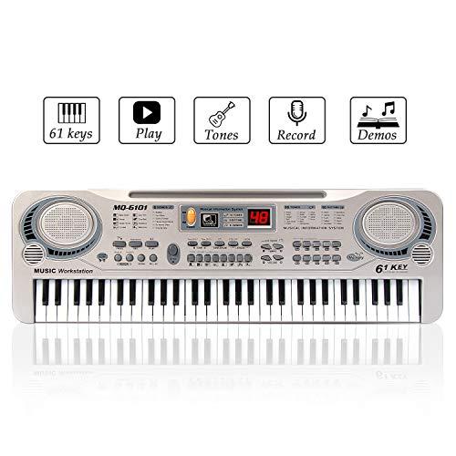 Klavier für Kinder, JINRUCHE Multifunktions 61 Mini-Tasten Elektronische Orgel Klavier Musical Teaching Keyboard Spielzeug (Silber) (61 Tasten Keyboard Klavier)