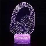 Bunte Kopfhörer 3D Nachtlicht Nachttisch Kreative Dreamy Baby Romantische Energiesparende Fütterung Tischlampe