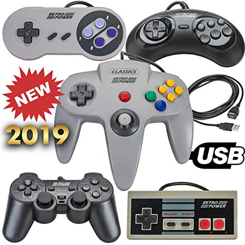 2019 USB-Controller (klassisch, NES, SNES, Sega Genesis, N64, Playstation 2 (PS2) für RetroPie, PC, HyperSpin, MAME, Emulator, Raspberry Pi Gamepad (Renewed)