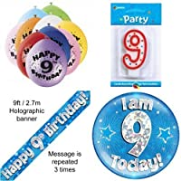 9th Birthday Party Set Age 9 Boys (Banner Balloons, Candle, Badge)