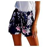 Shorts Damen Sommer Locker Luckycat Weibliches Blumenmuster Bedruckte Shorts für Damen Shorts Hose Sommerhosen Pants Hosen (Dunkelblau, Small)