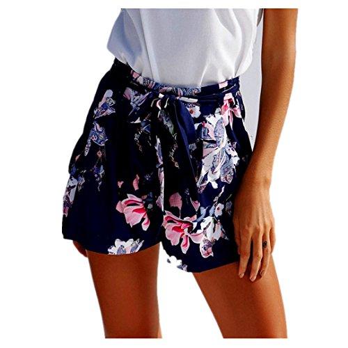 Shorts Damen Sommer Locker Luckycat Weibliches Blumenmuster Bedruckte Shorts für Damen Shorts Hose Sommerhosen Pants Hosen (Dunkelblau, X-Large)