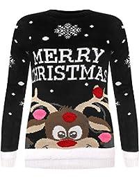 WearAll - Damen Gestrickt Fröhlich Weihnachten Weihnachten Schneeflocke Pullover  Damen Rentier Pom Jumper - 40- 28db4818d2