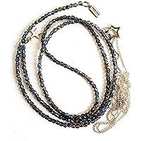 2 x Ketten als Set, Y-Kette lang funkelnde leicht transparent in grau blau schimmernden Glasperlen und eine zierliche Kette aus silberfarbenen Metallperlchen