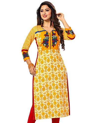Jevi Prints Women's Unstitched Cotton Yellow & Beige Block Printed Kurti Fabric...