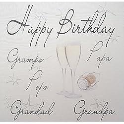 """White Cotton Cards Champagner Gläser""""Happy Birthday Gramps Papa Pops Grandad Opa"""" Geburtstag Karte Gedruckt"""