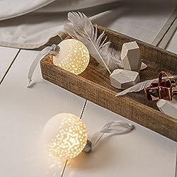 Lights4fun - 3 Palline di Natale in Ceramica Bianca con LED Bianco Caldo a Pile
