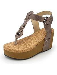 0a8c92e28be Sandalias Mujer Cuña Alpargatas Plataforma Bohemias Romanas Flip Flop Mares  Playa Gladiador Verano Tacon Planas Zapatos