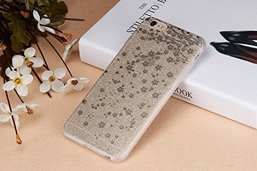 iPhone 6 6S Coque Housse Etui, iPhone 6 Rose Coque en Silcone Clair Ultra-Mince Etui Housse avec Glitter Diamant, iPhone 6S Silicone Coque Pink Slim Transparent Soft TPU Bumper Case with Bling Diamond Champagne Or-prune fleur