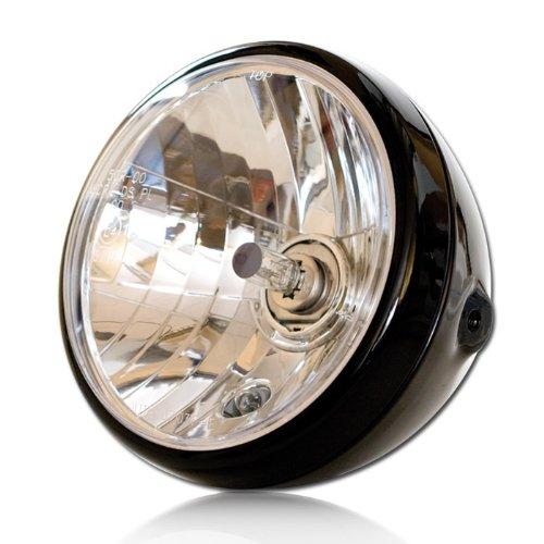 Motorrad Scheinwerfer H4 'NEVO', 7 Zoll, Klarglas, schwarz, Prismenreflektor, Befest. M8 seitlich, E-geprüft