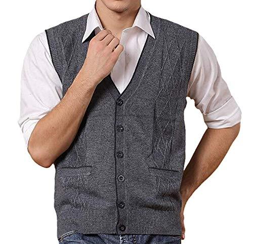 Fuxitoggo Unten mit Argyle Young Top Wolle Mode V Herren Weste Tank Pocket Weste Hals gestricktes einfaches Muster (Farbe : Dunkel Grau, Größe : X-Large) -
