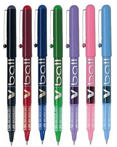 Lot de 7stylos à bille Pilot VBall- Pointe fine en métal de 0,5mm - Largeur d'écriture de 0,3mm - Encre liquide (noir, rouge, bleu, vert, violet, rose et bleu clair) - BL-VB5