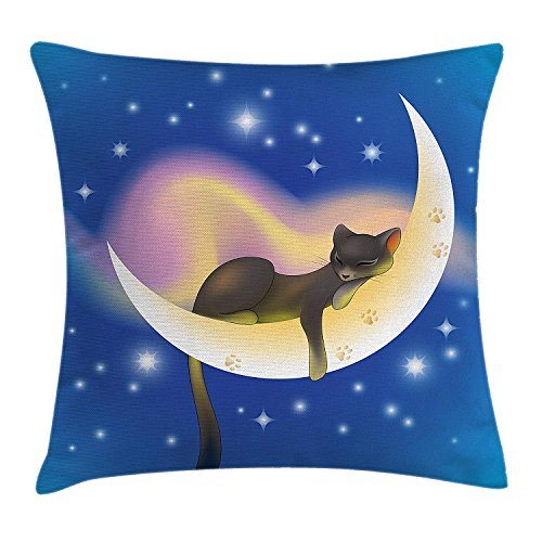 Sweet Dreams Eye Pillow (fjfjfdjk Cat Sleeping on Crescent Moon Stars Night Sweet Dreams Themed Kids Nursery DesignCat Throw Pillow Cushion Cover Decorative Square Accent Pillow Case 18 X 18 Inches Blue Yellow)