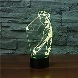Ahat lampe de mirage 3D, lampe de nuit, Le golf, 7 couleurs changeantes, table USB, joli cadeau, jouet décoratif