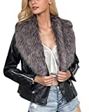Damen Kurz Revers Mantel Lederjacke Reißverschluss Mantel Parka Jacke Grau 3XL
