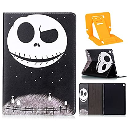 Ekakashop ipad 2017 9.7 Stand Case, ipad 2017 Cover Leather Retro, Fashion Colorful Painting Design Ultra Slim-Fit Flip PU Leather Book style Wallet Magnetic Built-in Stand Shockproof Full Protection Case Cover with Retina Display for Apple New ipad 2017 9.7 with 1*kickstand (color random), Skull 1