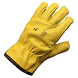 Himalayan H310 Fleece Lined Leather Winter Thermal Cold Work Drivers Gloves PPE (Size 9 - Large)