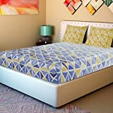 Spaces Intensity 180 TC Cotton Bedsheet with 2 Pillow Covers - Geometric, King Size, Blue