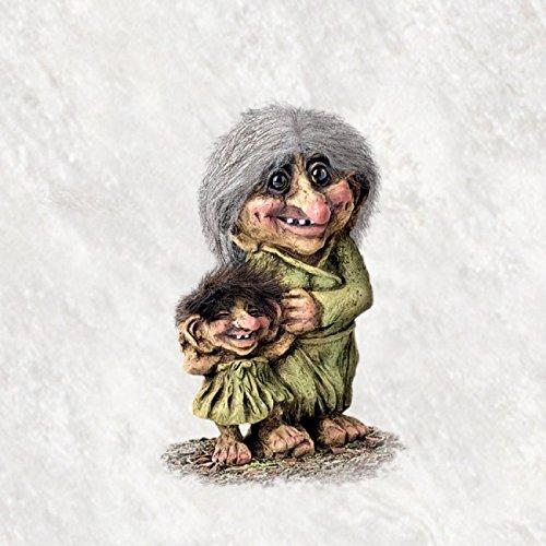ORIGINAL NORWEGISCHE TROLLE * NyForm Troll mit Zertifikat 266 * Trollfrau mit Kind 17cm