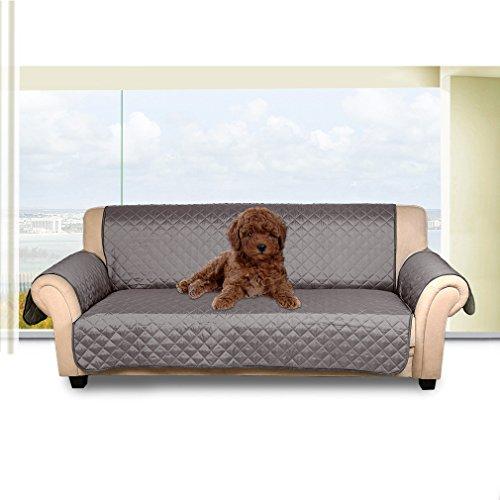 Kinlo 3-posti (167*165cm) copripoltrona double-sided copridivano per gli animali domestici impermeabile anti-graffio, antifouling, protezione divano - grigio scuro/grigio chiaro