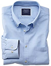 56e22a988 Classic Fit Button-Down Washed Oxford Plain Sky Blue Cotton Shirt Single  Cuff by…