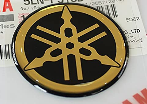 YAMAHA TUNING Emblem Aufkleber Logo / Gold - CHROME / Mehr Größe zu wählen / BODY GEL Resin Selbstklebende Moto / Jet Ski / ATV / Snowmobile (50mm.)