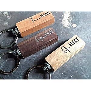 Schlüsselanhänger aus Holz mit Wunschtext von Schlüsselundwort, schönes Geschenk für den Mann, Lehrer, Abschiedsgeschenk, Haus
