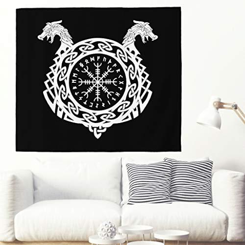 Alfombra de pared con diseño de dos dragones vikingos de un solo color, para el casco vikingo de Ehrfurcht, para la pared, diseño de dragón nórdico 200x150cm blanco