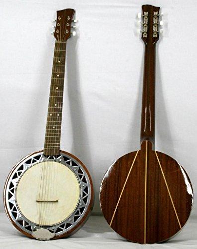 Musikalia luthery Linkshänder Version Banjo Gitarre mit Aluminium Fall, Rückseite in Mahagoni mit Ahorn Inlay