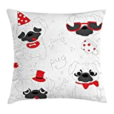 KLYDH Pug Throw Pillow Cushion Cover, Dogs in Various States Sad Happy Cool Excited Dog Bone Dotted Mug Caricature Style, Decorative Square Accent Pillow Case, 18 X 18 inches, Black Red White