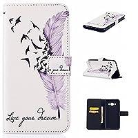 iGrelem® Galaxy J5 2016 (J510) Case Wallet [PU Leather] Flip Cover for Samsung Galaxy J5 2016 (J510) (Feather, White)
