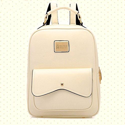 DELEY Damen Britische Style Tote Handtasche College Beutel Schulter Rucksack Beige