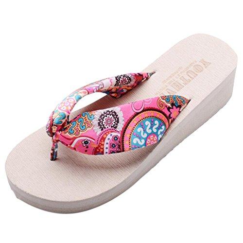 Yiiquan Donna Sandali Bohemia Zeppa Infradito Scarpe da spiaggia Pantofole Beige #2