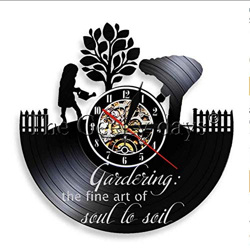 TIANZly Gartenarbeit Retro-Pflanze Instrument Vinyl Schallplatte Wanduhr Land Bauernhaus Gärtner Plantage Wand Art-Deco-Uhr Raumdekoration
