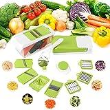 FIXKIT Gemüseschneider Mandoline,Gemüsehobel 12 in 1 Austauschbare Klinge mit Schäler Obst, Multischneider, Gemüsehobel, Gemüseschäler, Gemüsereibe und Julienneschneider
