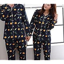 DEED Pijamas - Pantalones de Manga Larga de algodón de Primavera y otoño Parejas Pijamas de