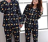 DEED Pijamas - Pantalones de Manga Larga de algodón de Primavera y otoño Parejas Pijamas de Servicio a Domicilio Conjunto de Hombres y Mujeres Pueden Usar cálido y cómodo,Naranja,Mujer M