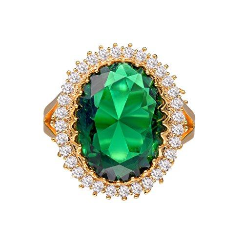 Anello di smeraldi gioielli con pietra verde con zirconi cubici grandi anelli placcati oro / platino fedi nuziali di fidanzamento regalo per ragazze signore