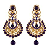I Jewels Blue Kundan & Stone Gold Plated...