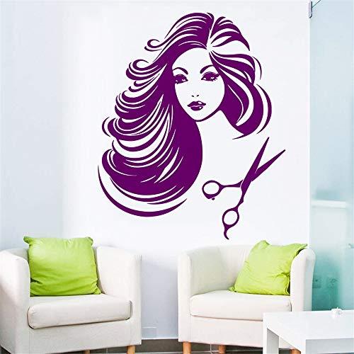lyclff Schöne Salon Mädchen Vinyl Wandaufkleber HotBarbershop Mädchen Tun Ihr Haar Cut Art Wandaufkleber Wohnkultur Tapete ~ 1 56 * 89 cm