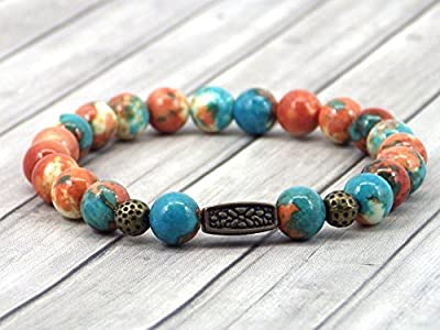 Bracelet pour femme vintage tibétain en perles de jade teinté en marron, orange et bleu avec perles en bronze antique